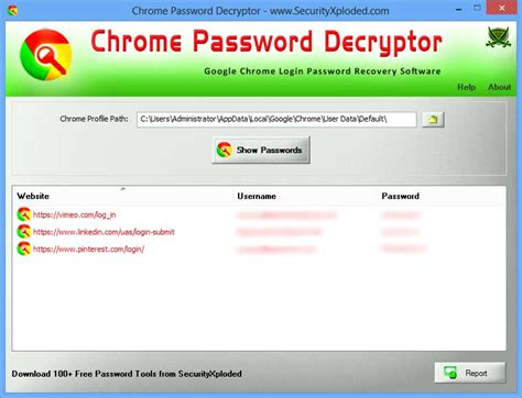 ChromePasswordDecrytor showing the saved sign-on html reprot