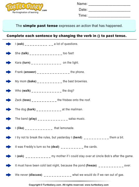 Complete Sentences by Writing Past Tense Form of Verb