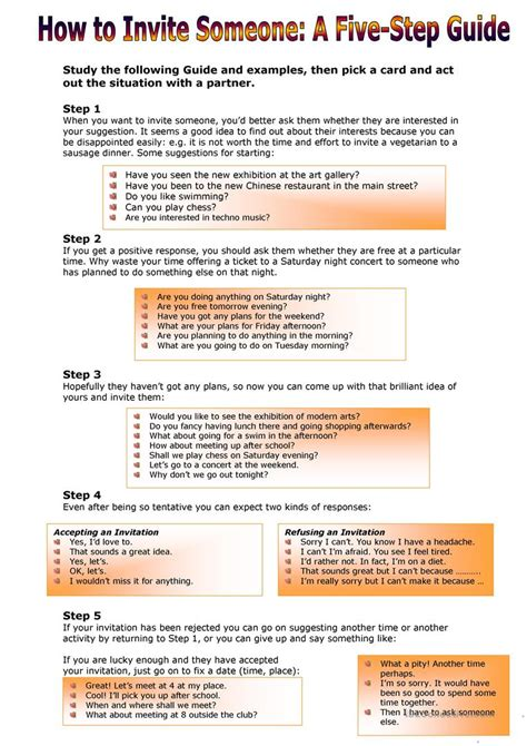 How to Invite Someone:A Five-Step Guide worksheet - Free