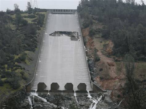Oroville Dam Spillway has a hole